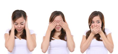Hear no evil, see no evil and speak no evil, girl isolated on white background Banque d'images