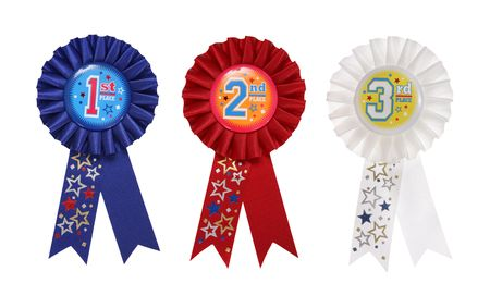 First, Second, and Third place award ribbons over a white background Stock Photo - 2630541