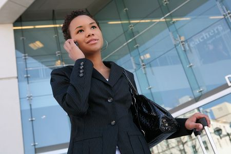 An african american business woman on the cell phone Stock Photo - 2667681