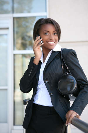 An african american business woman on the cell phone Stock Photo - 2676006