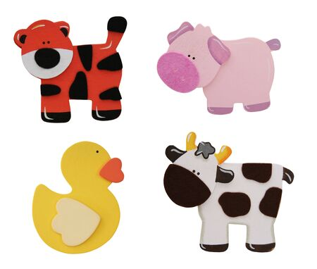 cartoon: A Tiger, Pig, Cow, and Duck isolated over white Stock Photo