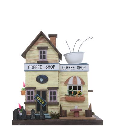 shop sign: An isolated model coffee shop isolated over white