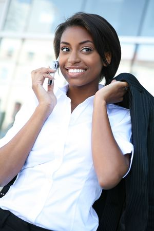 An african american business woman on the cell phone photo