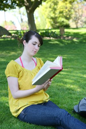 A cute young girl reading a book in the park