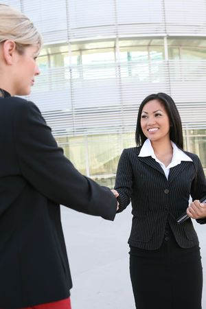 working attire: A beautiful young asian business woman shaking hands