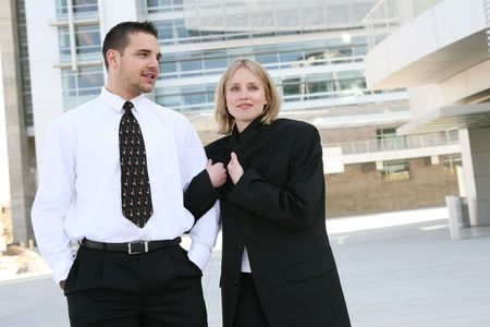 An attractive business team at their office building Stock Photo - 3081229