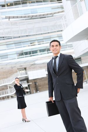 company building: A man and woman business team at their company building