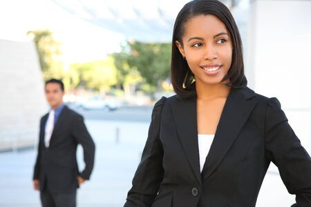 A pretty african american business woman at office building Stock Photo - 3220194