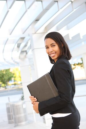 A pretty african american business woman at her office building Stock Photo - 3230527