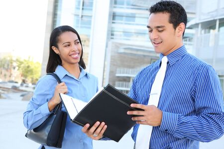 A diverse man and woman business team at their company office building Stock Photo - 3230530