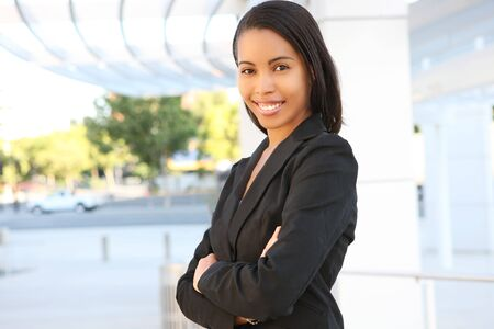 A pretty african american business woman at her office building Stock Photo - 3230526