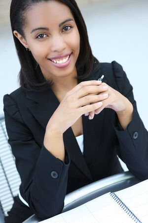 A pretty african american business woman at her office building Stock Photo - 3253373