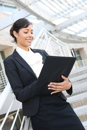A pretty african american business woman at her office building Stock Photo - 3325432