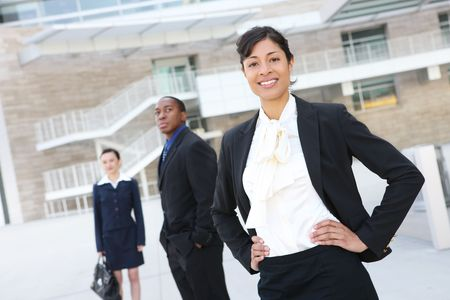 A pretty african american business woman at her office building Stock Photo
