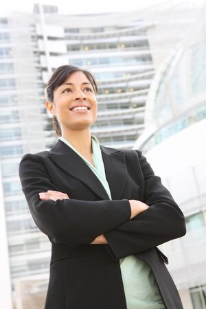 A pretty african american business woman at her office building Stock Photo - 3477739