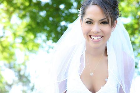A beautiful hispanic woman at wedding outdoor Stock Photo