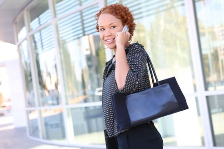 A pretty african american business woman on the cell phone Stock Photo - 3655381