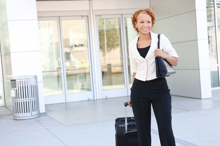 A pretty african american business woman outside office building Stock Photo - 3665176