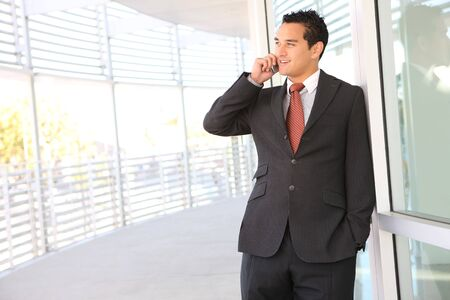 A handsome business man on the phone at office building Stock Photo - 3715035