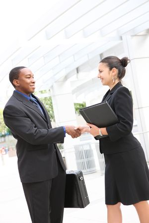 business interview: An attractive, diverse, business team man and woman handshake