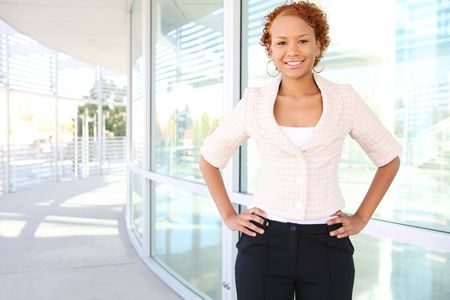 A young, confident african american business woman ouside office Stock Photo - 3754452