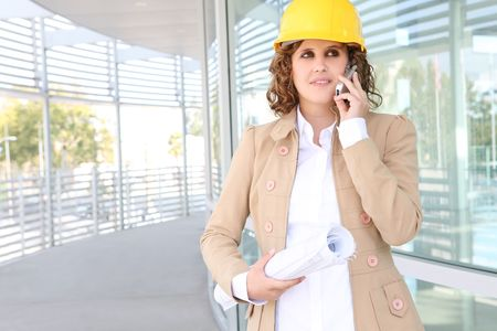 A pretty business construction woman at office building Stock Photo - 3796502