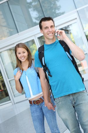 An attractive couple at school (Focus on Woman) photo