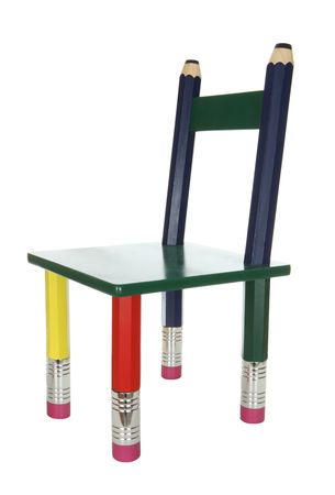 An isolated colorful kids chair over a white background