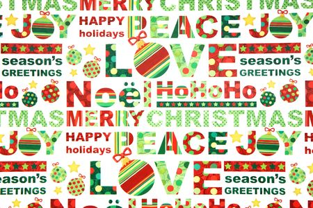 greeting christmas: Colorful holiday Christmas wrapping paper background Stock Photo