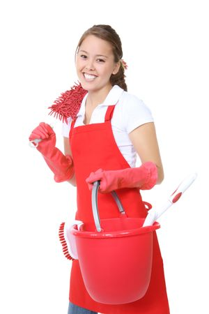 A cute maid woman cleaner with cleaning supplies and bucket Фото со стока