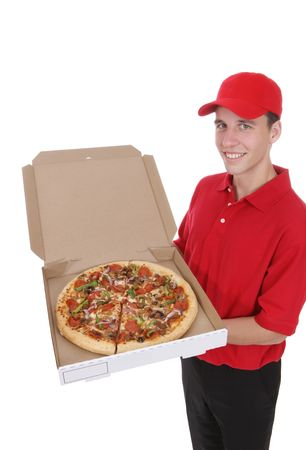 delivery driver: A handsome young pizza delivery man holding a pizza