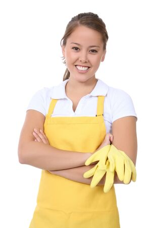 housewife gloves: A cute woman maid cleaner resting after working