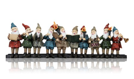 dwarf christmas: Elves playing their music instruments at Christmas