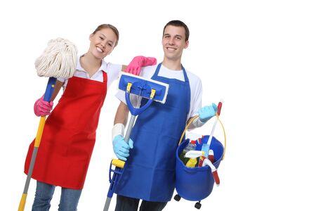 orden y limpieza: Un atractivo hombre y la mujer la celebraci�n de limpieza