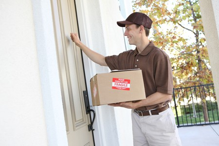 delivery package: A handsome young delivery man delivering a package