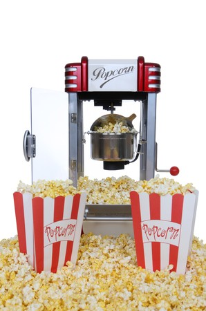 popcorn: Un vintage retr� popcorn macchina su sfondo bianco