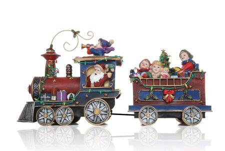 christmas cabin: Santa Christmas Train with Kids Having Fun