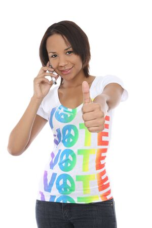 A pretty african american woman in a vote shirt
