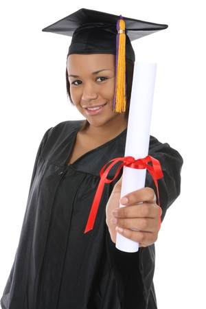 A pretty african american woman graduate Stock Photo - 4043989