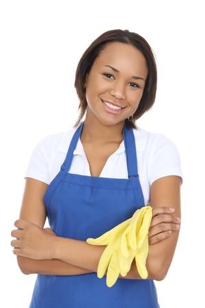 sirvienta: Una mujer de limpieza muy limpia la celebraci�n de los guantes