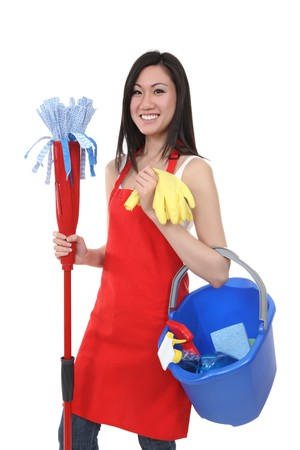 A pretty woman maid cleaner mop and cleaning supplies
