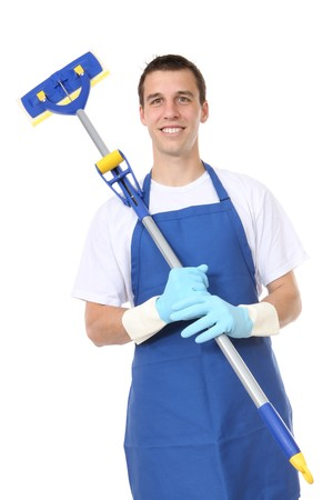cleaning supplies: A handsome young man with cleaning supplies