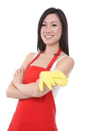 housewife gloves: A pretty asian woman maid resting after working