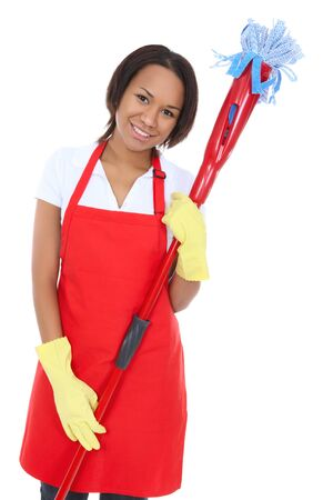 A pretty woman maid cleaner holding a mop Stock Photo