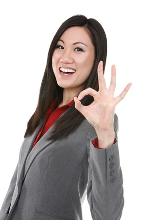 business sign: Pretty young asian business woman celebrating success Stock Photo
