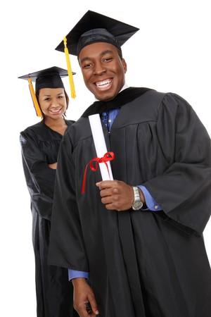 grad: Atractivo hombre y la mujer African American graduados Foto de archivo