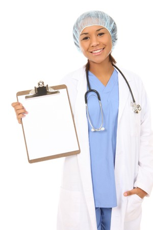 A pretty african american nurse holding clipboard photo