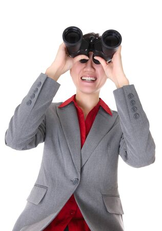 Asian business woman with binoculars searching isolated over a white background