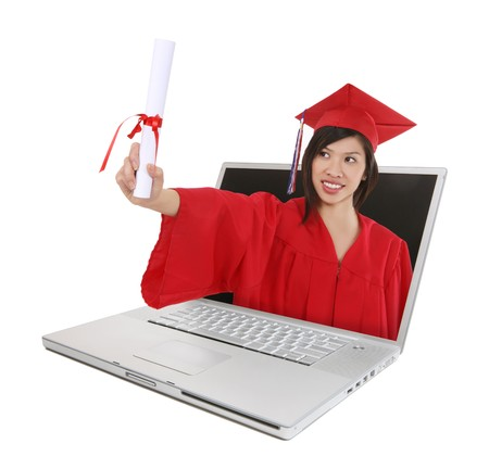 masters degree: A pretty asian woman at graduation coming out of laptop computer