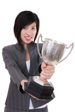 A young pretty business woman with trophy award Stock Photo - 4191290